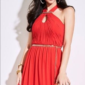 Chain-linked runched Maxi Dress